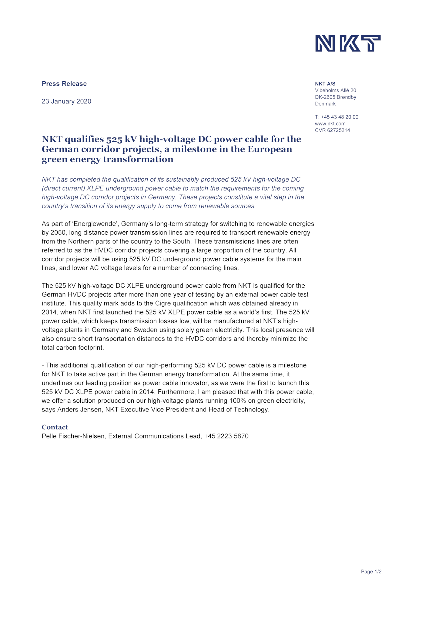 NKT qualifies 525 kV high-voltage DC power cable for the German corridor projects.pdf